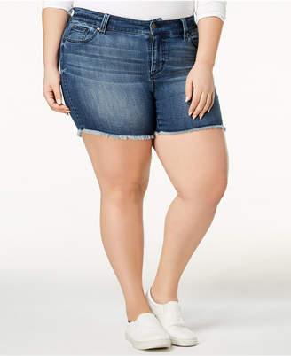 Celebrity Pink Plus Size Raw-Hem Denim Shorts