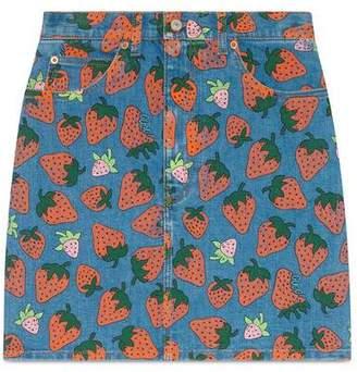 Gucci Denim skirt with Strawberry print
