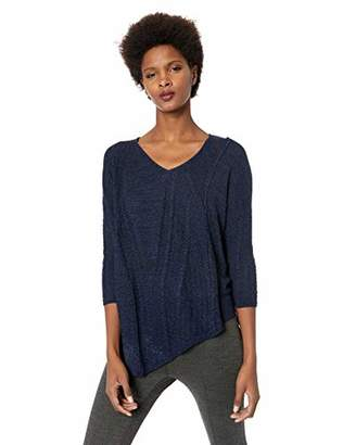 Democracy Women's 3/4 Sleeve V Neck Cable Mix Asymmetric Hem Sweater