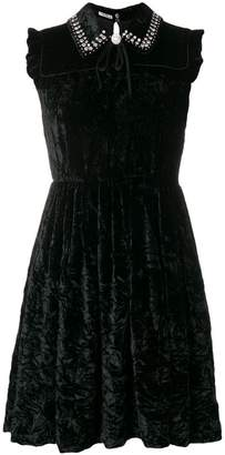 Miu Miu crystal embellished velvet mini dress