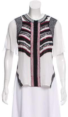 Prabal Gurung Embroidered Silk Chiffon Top