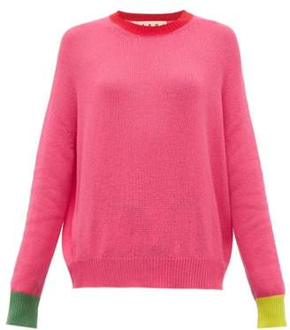 Marni Contrast Trim Cashmere Sweater - Womens - Pink Multi