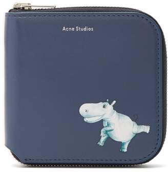 Acne Studios Hippopotamus Print Leather Wallet - Womens - Blue Multi