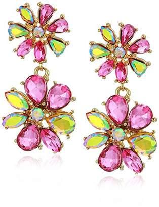 Betsey Johnson GBG) Paradise Lost Women's Stone Flower Drop Earrings