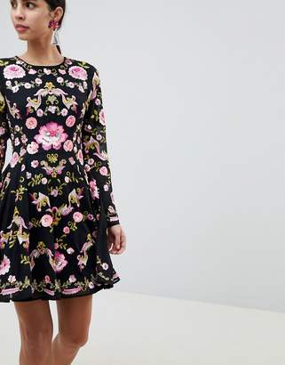 Asos Edition EDITION Beautiful Embellished Floral Skater Dress