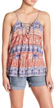 Jessica Simpson Ceri Print Lace-Up Tank Top