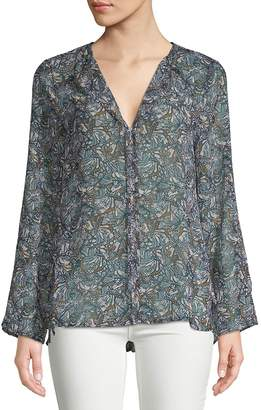 Bobeau B Collection by Women's Christy Printed Hi-Lo Blouse