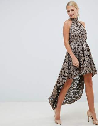 Forever Unique metallic lace hi-lo dress