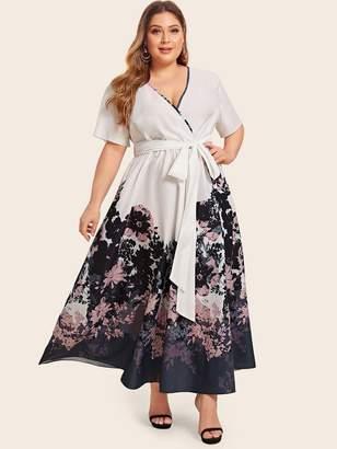 Shein Plus Floral Print Tie Front Wrap Dress