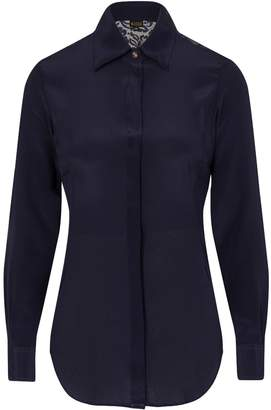 Sophie Cameron Davies - Midnight Blue Fitted Silk Shirt