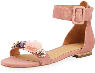 Bill Blass Cameron Embellished Flat Suede Sandals