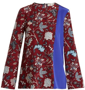 Diane von Furstenberg Contrast Panel Silk Crepe De Chine Top - Womens - Burgundy Multi
