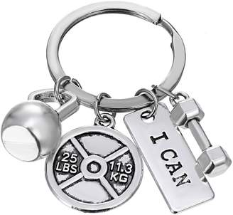 Rinhoo Unisex Fitness Gym Keychain with Quotes Workout Weight Plate Barbell Dumbbell Exercise Charms Keyring White Gold Plated /Gold Plated