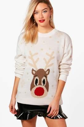 boohoo Rebecca Snowflake Reindeer Christmas Jumper
