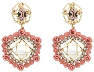 Dannijo Clock crystal pearl rose earrings