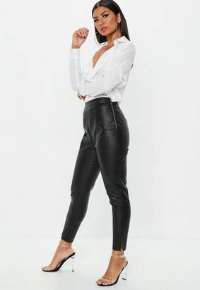 Missguided Petite Black Side Zip Faux Leather Trousers