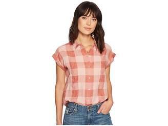 Lucky Brand Plaid Short Sleeve Top Women's Short Sleeve Button Up