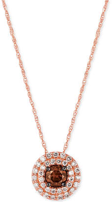 LeVian Le Vian Chocolatier Chocolate and White Diamond Circular Pendant Necklace (1/2 ct. t.w.) in 14k Rose Gold