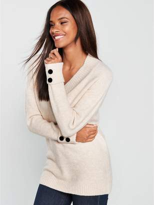 Very Cross Over V-neck Button Cuff Longline Jumper - Oatmeal Marl