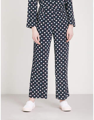 Claudie Pierlot Heart-print crepe trousers