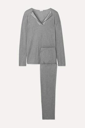 Hanro Fenja Stretch Silk-trimmed Cotton And Modal-blend Jersey Pajama Set - Gray