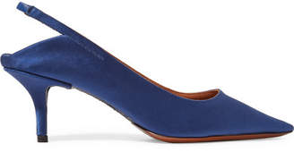 Vetements Naked Satin Slingback Pumps - Storm blue