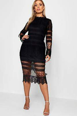boohoo NEW Womens Plus Lace Pannelled Midi Dress in Polyester