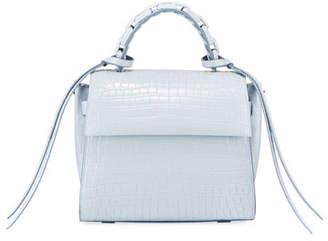 Elena Ghisellini Angel Small Croc-Print Top Handle Bag