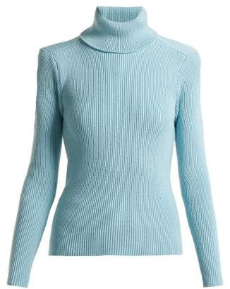 Balenciaga Exposed Back Roll Neck Sweater - Womens - Light Blue