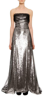 Ermanno Scervino Strapless Sequin Evening Gown with Tulle Overlay Train