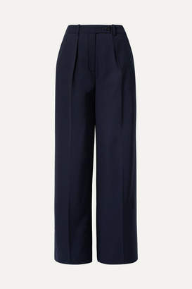 By Malene Birger Enil Wool-blend Wide-leg Pants - Navy