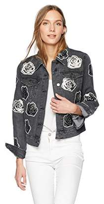 Bagatelle Women's Denim Jacket with Rose Patches