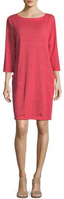 Eileen Fisher Plus Size Striped Organic Linen Shirt Dress