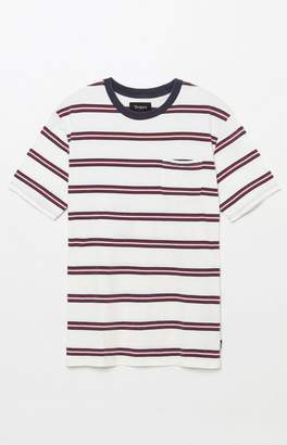 Brixton Hilt Washed Striped White Pocket T-Shirt