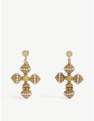 Swarovski SORU Santina 24ct yellow-gold vermeil, sterling silver and pearl earrings