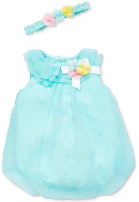 Little Me Baby Girls 2-Pc. Flower Crown & Romper Set