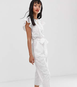 Miss Selfridge Petite broderie jumpsuit in white