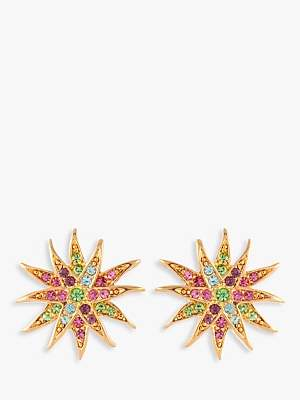 017658468 Susan Caplan Vintage 1980s D'Orlan Gold Plated Swarovski Crystal Star  Clip-On Earrings