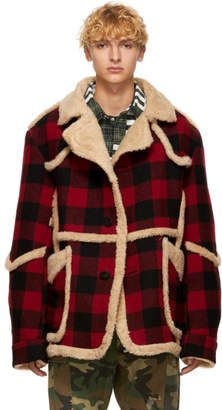 R 13 Red Wool Check Jacket