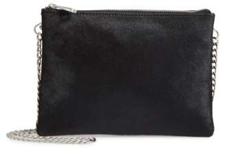 Topshop Oakley Leather & Genuine Calf Hair Crossbody Bag