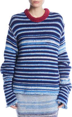 Calvin Klein Crewneck Television-Striped Oversized Sweater