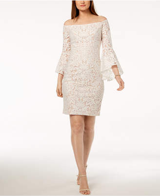Xscape Evenings Embroidered Off-The-Shoulder Bell-Sleeve Dress