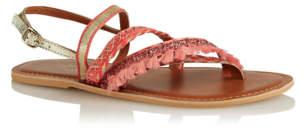 Bell George Coral Embellished Leather Sandals