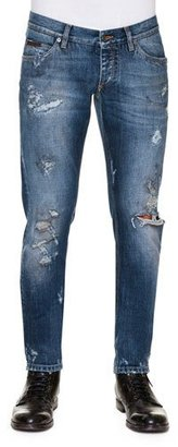 Dolce & Gabbana Distressed Dirty-Wash Denim Jeans, Blue $845 thestylecure.com