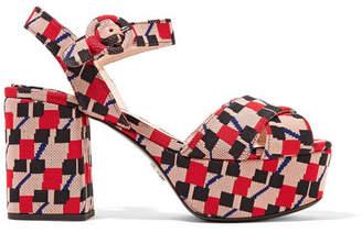Prada Jacquard Platform Sandals - Blush