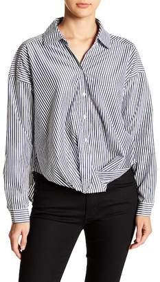 TOV Long Sleeve Stripe Shirts Front Twist Tie Detail.