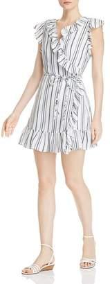 Aqua Ruffled Striped Wrap Dress - 100% Exclusive