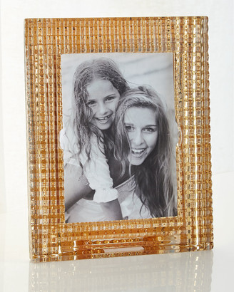 "Baccarat Eye Crystal Picture Frame, Golden - 5"" x 7"""
