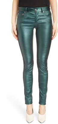 Saint Laurent Metallic Leather Skinny Pants