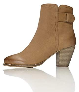 FIND Women's Maud Distressed Heeled Ankle Boots Brown (Tan) (37 EU)